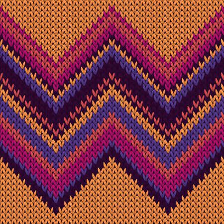 Handmade zig zal lines christmas knit geometric seamless pattern. Plaid knit tricot fabric print. Norwegian style seamless knitted pattern. Winter holidays wallpaper.