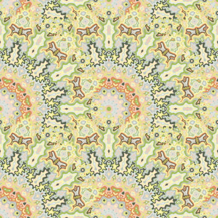 Mandala flower seamless ornament. African folk vector graphic design. Lace boho mandala floral seamless pattern. Interior decoration print. Иллюстрация