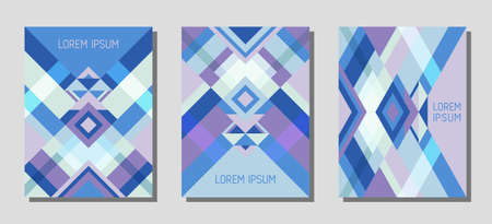 Collection of cover page layouts, vector templates geometric design with triangles and stripes. Carnival mexican motifs. Bauhaus pattern vector covers design. Cool rhombus stripe triangle shapes.