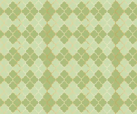 Moroccan Mosque Vector Seamless Pattern. Argyle rhombus muslim fabric background. Traditional ramadan pattern with gold grid. Rich islamic argyle seamless design of lantern lattice shape tiles. 向量圖像