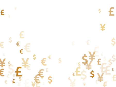 Euro dollar pound yen gold symbols scatter money vector background. Business concept. Currency symbols british, japanese, european, american money exchange signs wallpaper.