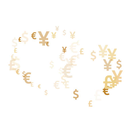 Euro dollar pound yen gold signs flying money vector illustration. Income concept. Currency tokens british, japanese, european, american money exchange elements graphic design.
