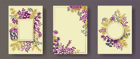 Simple herb twigs, tree branches, flowers floral invitation cards collection. Herbal frames modern invitation cards with dandelion flowers, fern, mistletoe, olive branches, savory twigs.