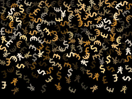 Euro dollar pound yen metallic signs scatter currency vector background. Investment pattern. Currency symbols british, japanese, european, american money exchange signs background.