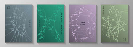 Pharmaceutical healthcare vector covers with neurons, synapses. Mobile waves surface textures. Stylish magazine vector templates. Healthcare and hygiene covers.