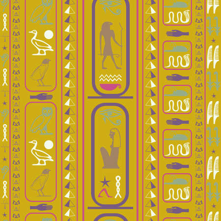 Ancient egypt writing seamless pattern. Hieroglyphic egyptian language symbols origami. Repeating ethnical fashion vector for brochure or book cover. Illusztráció