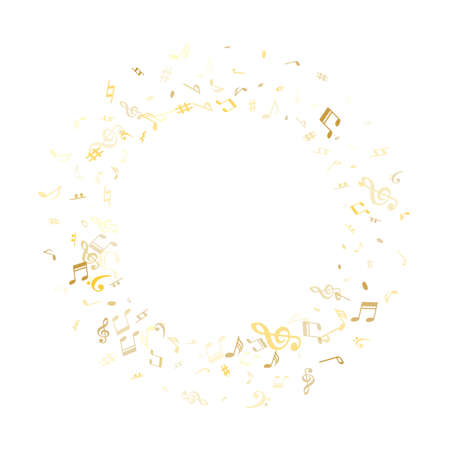 Gold flying musical notes isolated on white background. Metallic musical notation symphony signs, notes for sound and tune music. Vector symbols for melody recording, prints and back layers.