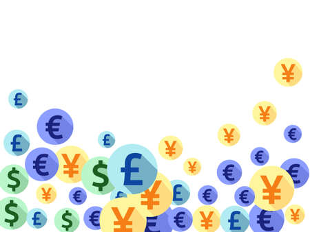 Euro dollar pound yen round signs flying currency vector illustration. Sale backdrop. Currency tokens british, japanese, european, american money exchange signs background.