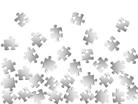 Business tickler jigsaw puzzle metallic silver pieces vector background. Top view of puzzle pieces isolated on white. Teamwork abstract concept. Kids building kit pattern. Çizim