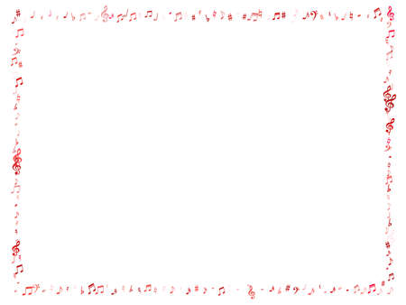 Red flying musical notes isolated on white background. Pink musical notation symphony signs, notes for sound and tune music. Vector symbols for melody recording, prints and back layers.