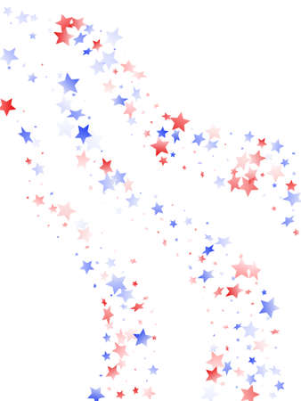 American Independence Day stars background. Holiday confetti in US flag colors for President Day. Stylish red blue white stars on white American patriotic vector. 4th of July stardust scatter.