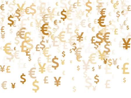 Euro dollar pound yen gold symbols flying money vector design. Forex concept. Currency icons british, japanese, european, american money exchange elements background. 向量圖像