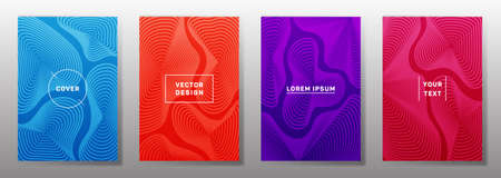 Minimalistic covers linear design. Fluid curve shapes geometric lines patterns. Abstract backgrounds for notepads, notice paper covers. Line shapes patterns, header elements. Annual report covers. Çizim