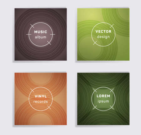 Retro vinyl records music album covers set. Semicircle curve lines patterns. Flat creative vinyl music album covers, disc mockups. DJ records geometric layouts. Techno party posters. Çizim