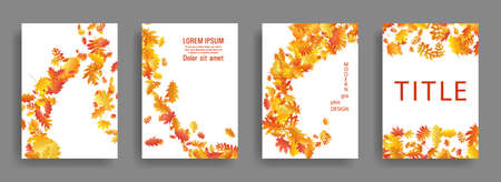 Autumn leaves falling card backgrounds or covers vector set. Yellow orange red dry autumn leaves organic banners. Falling dry foliage brochure covers, card backgrounds graphic design.
