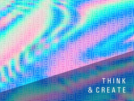 Minimal presentation holographic gradient vector template. Fluid shimmer overlay elements. Mesmerizing gradient holographic background for presentation. Çizim
