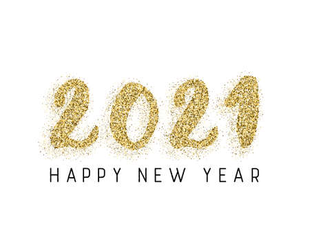 2021 Happy New Year vector greeting card. Gold confetti particles number lettering. Happy New Year wishes, 2021 of gold confetti elements. Chic celebration banner. Çizim