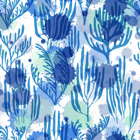 Ocean corals seamless pattern. Paint splashes drops watercolor background. Aquatic plants repeating vector background. Sea reef nature pattern. Tropical coral reef bush silhouette elements. Çizim