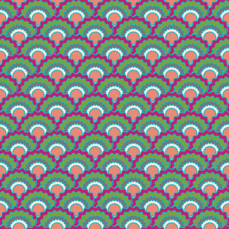Minimal mermaid scales squama background, vector seamless fabric pattern, tiled textile print. Typical chinese squama scales seamless arc tiles structure. Reptile animal skin pattern.