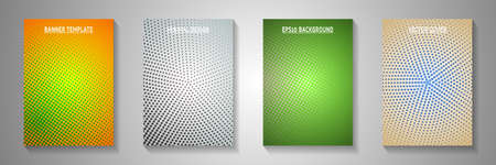 Grunge dot screen tone gradation front page templates vector series. Medical notebook faded screen tone patterns. Retro comics style title page layouts. Round pixels.