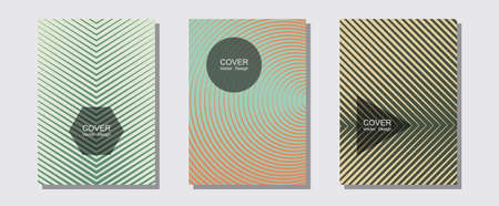 Halftone gradient texture vector cover layouts. Music placards. Halftone lines music poster background. Business folders branding. Multiple lines cool gradient texture backgrounds.