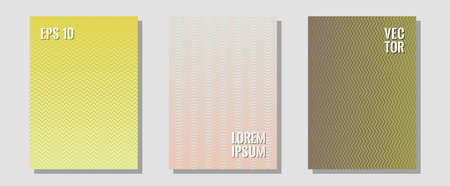 Geometric design templates for banners, covers. Hipster placards. Zigzag halftone lines wave stripes backdrops. Technological formers. Halftone brochure lines geometric design set.