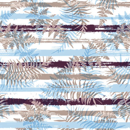 Organic new zealand fern frond and bracken grass over painted stripes seamless pattern design. Indonesian forest foliage clothing fabric print. Geometric floral tropical leaves seamless. Çizim