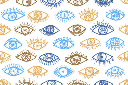 Different human eyes naive seamless pattern. Pop art graphic style illustration. Fashion packaging vector design. Doodle eyes on white background psychedelic endless ornament.