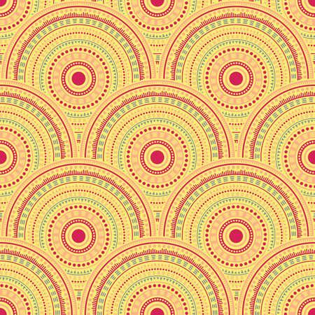 Chinese circle elements wallpaper design vector seamless pattern. Ethnic motifs geo line art geometry. Japanese ethnic overlapping circular shapes seamless geometric pattern. Çizim