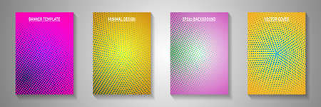 Minimal point perforated halftone title page templates vector batch. Urban brochure faded halftone backgrounds. Vintage manga comics style front page leaflets. Optical effects.