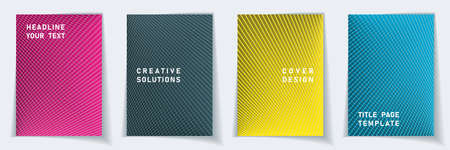 Cover page digital layout vector design set. Crossed lines dynamic background patterns. Notepad templates. Business gradient covers graphic collectoin.