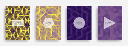 Halftone shapes business booklet covers vector design. Background patterns with halftone triangle, circle, polygon geometric shapes. Minimal banners set. Notepad covers geometric design.