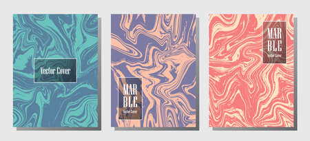 Cool marble prints, vector cover design templates. Fluid marble stone texture iInteriors fashion magazine backgrounds  Corporate journal patterns set of liquid paint waves. Notebook prints set.