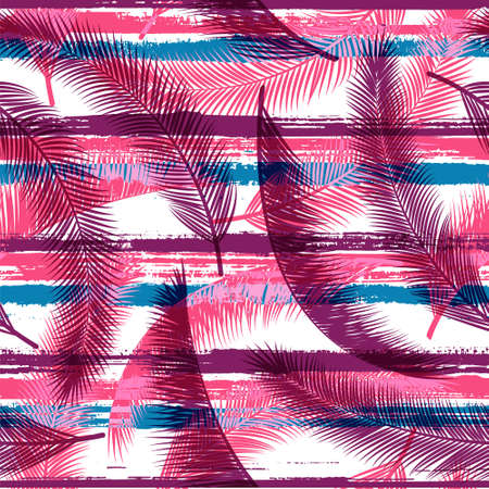 Cool coconut palm leaves tree branches overlaying stripes vector seamless pattern. Brazilian forest foliage beach fashion fabric print. Floral tropical leaves seamless design.