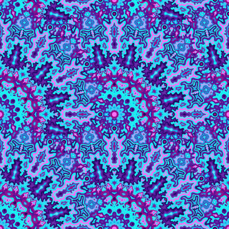Kaleidoscope floral seamless ornament. Indian folk vector composition. Lace arabesque kaleidoscope geometric seamless pattern. Summer swimwear print.
