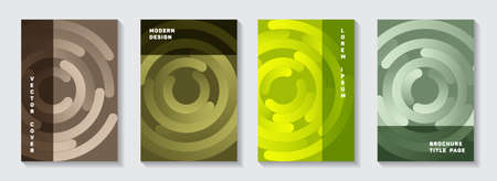 Editable brochure title pages set. Graphic flyer gradient circles twist vector backgrounds. Aim goal achievement circles concept. Abstract catalog front pages collection.