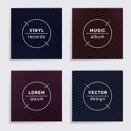 Abstract plate music album covers collection. Halftone lines backgrounds. Minimal plate music records covers, vinyl album mockups. DJ records disc vector mockups. Banners flyers cards set. Çizim