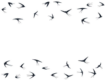 Flying martlet birds silhouettes vector illustration. Nomadic martlets school isolated on white. Winged flying swallows line art. Little birds in sky graphic design. Fauna background. Ilustración de vector