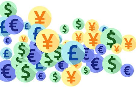 Euro dollar pound yen round symbols flying money vector design. Financial pattern. Currency tokens british, japanese, european, american money exchange elements graphic design.