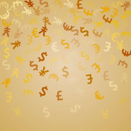 Euro dollar pound yen golden signs scatter money vector background. Financial pattern. Currency icons british, japanese, european, american money exchange elements graphic design.