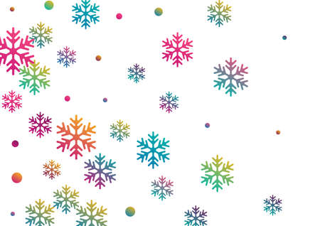 Crystal snowflake and circle elements vector illustration. Cool winter snow confetti scatter flyer background. Flying colorful gradient snow flakes background, trendy water crystals vector.