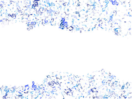 Sky blue and cyan flying musical notes isolated on white background. Contrast musical notation symphony signs, notes for sound and tune music. Vector symbols for melody recording, print or design.