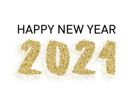 Rich gold 2021 Happy New Year vector banner. Confetti particles font calligraphy. Happy New Year wishes, 2021 of confetti scatter. Luxury banner. Çizim