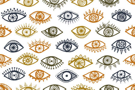 Different human eyes artistic seamless ornament. Sketch drawing style illustration. Mascara packaging vector design. Doodle eyes with girly eyelashes esoteric endless pattern.