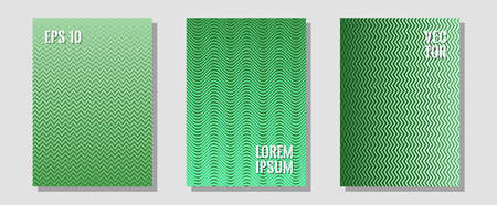 Brochure covers, posters, banners vector templates. Futuristic style. Zigzag halftone lines wave stripes backdrops. Elegant patchy mockups. Geometric graphic design for booklet brochure covers. Çizim