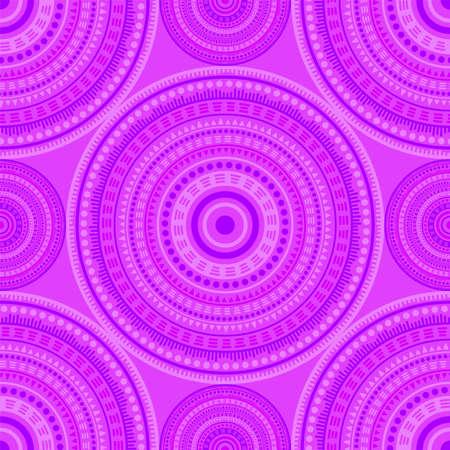 Japanese folk motifs seamless pattern. Round medallion mandala geometric tiles. Fabric print template. Retro fashion pattern. Trendy circular seamless ornament. Henna mandala design.