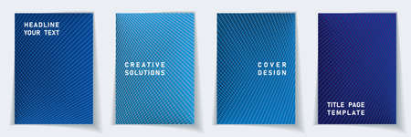 Cover page trendy layout vector design set. Halftone lines grid background patterns. Brochure templates. Scientific gradient covers graphic collectoin. Çizim