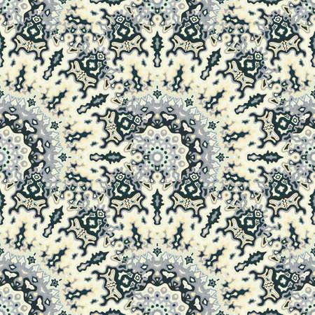Mandala floral seamless ornament. Diwali ethnic vector graphic design. Lace modern chakra geometric seamless pattern. Scarf fashion print.