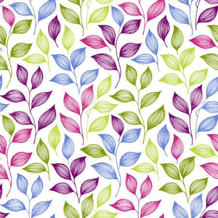 Wrapping tea leaves pattern seamless vector. Minimal tea plant bush leaves floral fabric print. Herbal sketchy seamless background pattern with nature elements. Colored summer foliage wallpaper. Çizim