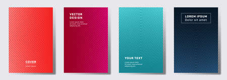 Tech cover templates set. Geometric lines patterns with edges, angles. Digital backgrounds for cataloges, corporate brochures. Lines texture, header title elements. Cover page templates. Çizim